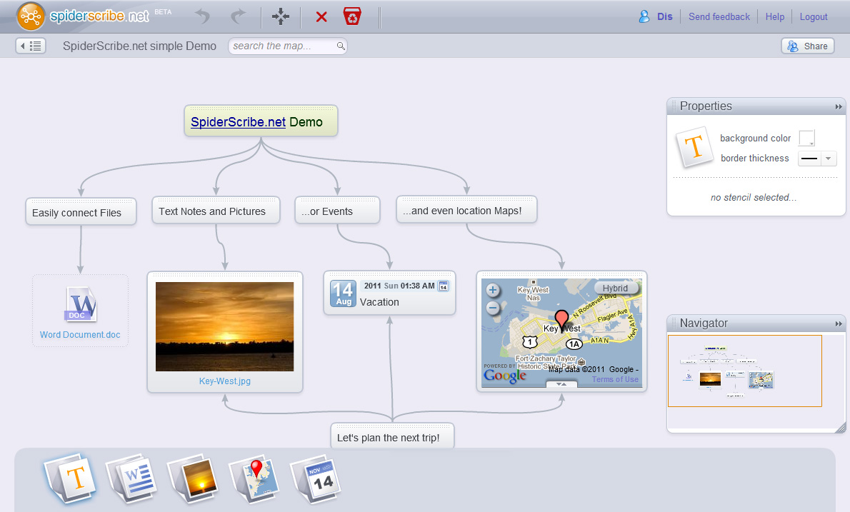 A screenshot of SpiderScribe's mapping interface, with images, maps, and text items linked by lines and arrows.